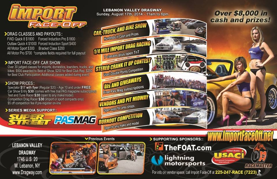 PASMAG Import Face Off Albany New York August 17 2014 Event Schedule Flyer Back