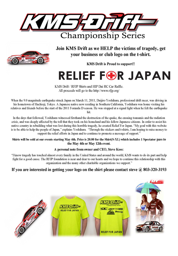 Become a sponsor for the KMS Drift/RFJP T-Shirt to be sold at KMS Drift events.