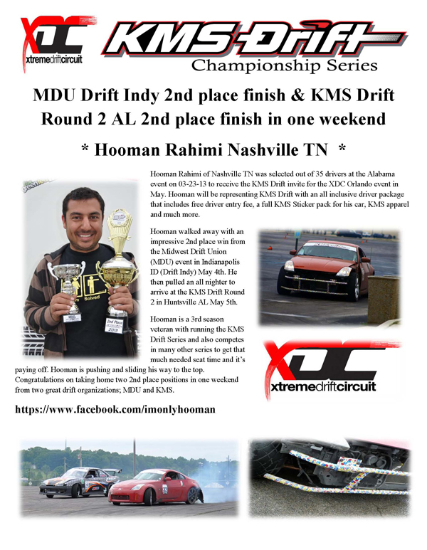 MDU and KMS 2nd place finish Hooman R for AL 3-23-13 event