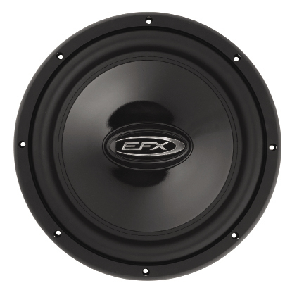 The EFX C124D is a 12-inch dual voice coil subwoofer, featuring a one piece injection molded polypropylene cone. The high gloss black cone is bonded to a wide rubber surround by high-tech adhesives as well as good old fashioned stitching for maximum reliability at full excursion.