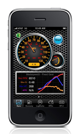 The Dyno Mode measures performance such as 0-60mph. ¼-mile, horsepower and g-forces using OBDII info and the iPhone g-meter.