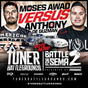 PASMAG Tuner Battlegrounds 2014 Battle for SEMA Moses vs Anthony Graphic