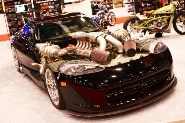 The 2000whp twin turbo Viper at the K&N booth definitely stole the show! Other notables included Vaughn Gittin's RTR Mustang, UGR Murcielago Twin Turbo, iForged SL55 Widebody and the Wraptivo BMW M3 to wrap up our TOP 5 at SEMA!!!