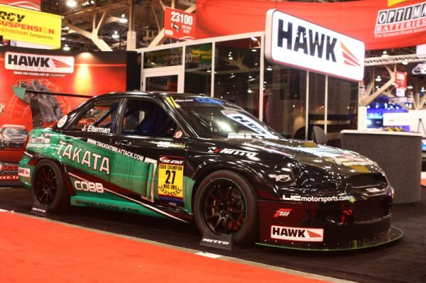 James Eltermann's Time Attack Takata STi at the Hawk Performance booth