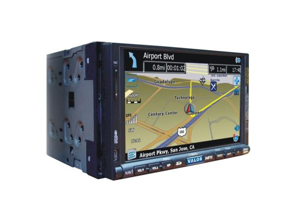 The Valor DDN-888W features full built-in GPS navigation and DVD playback on a high quality 6.9-inch touch screen TFT LCD. An unusual feature is the way the entire LCD screen is fully detachable, providing both security and convenience.