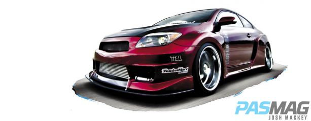 PASMAG 2005 Scion tC Cynce Tester Red Alert Dezod AIT Widebody leadin