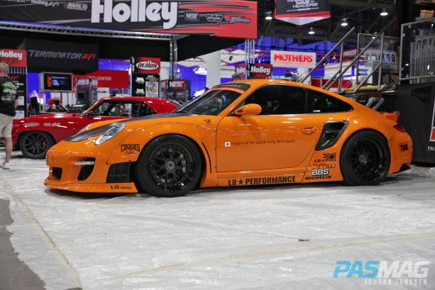 PASMAG SEMA 2014 Las Vegas Liberty Walk Porsche 997 Optima Street Car BBS Michelin LTMW side