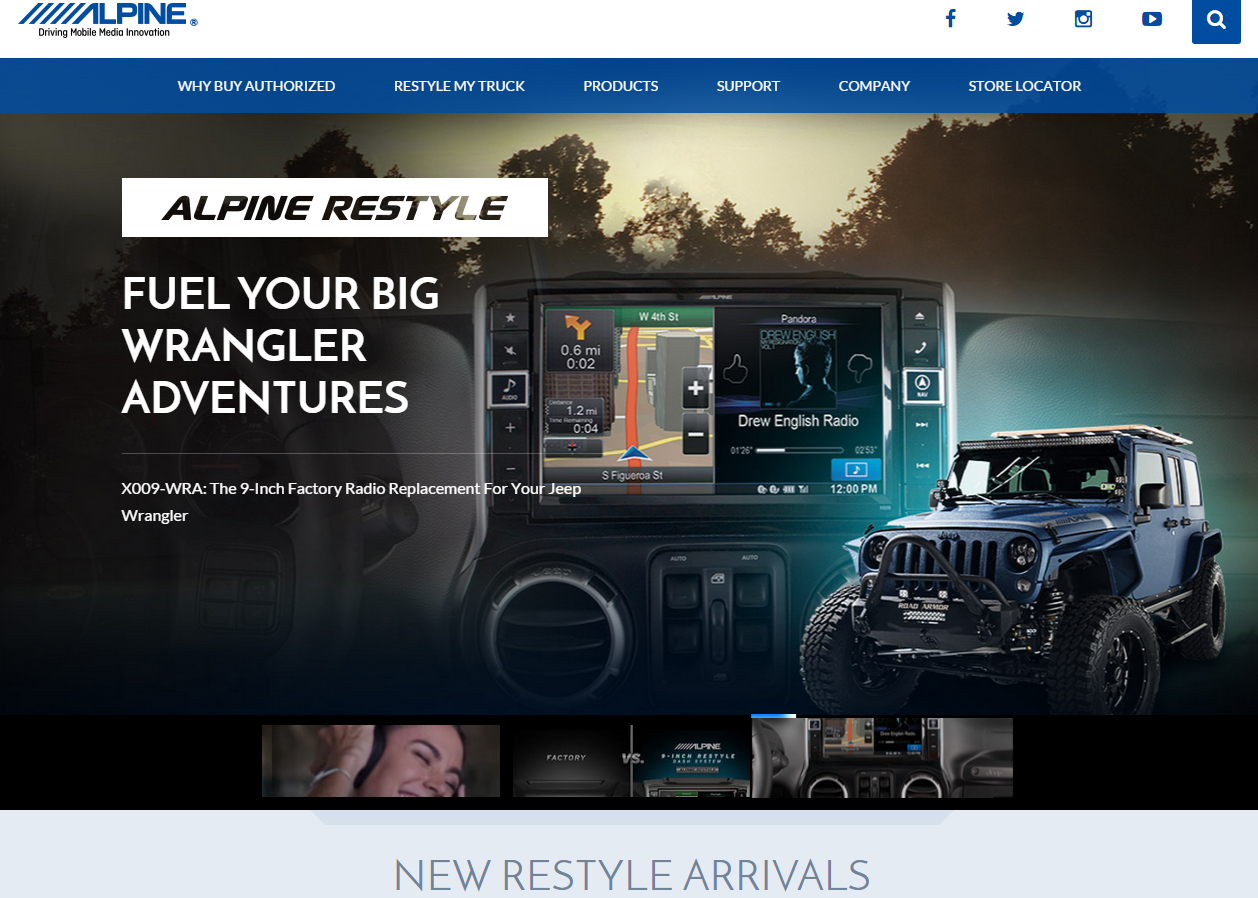 Alpine Electronics of America Restyles Its Website Homepage PASMAG