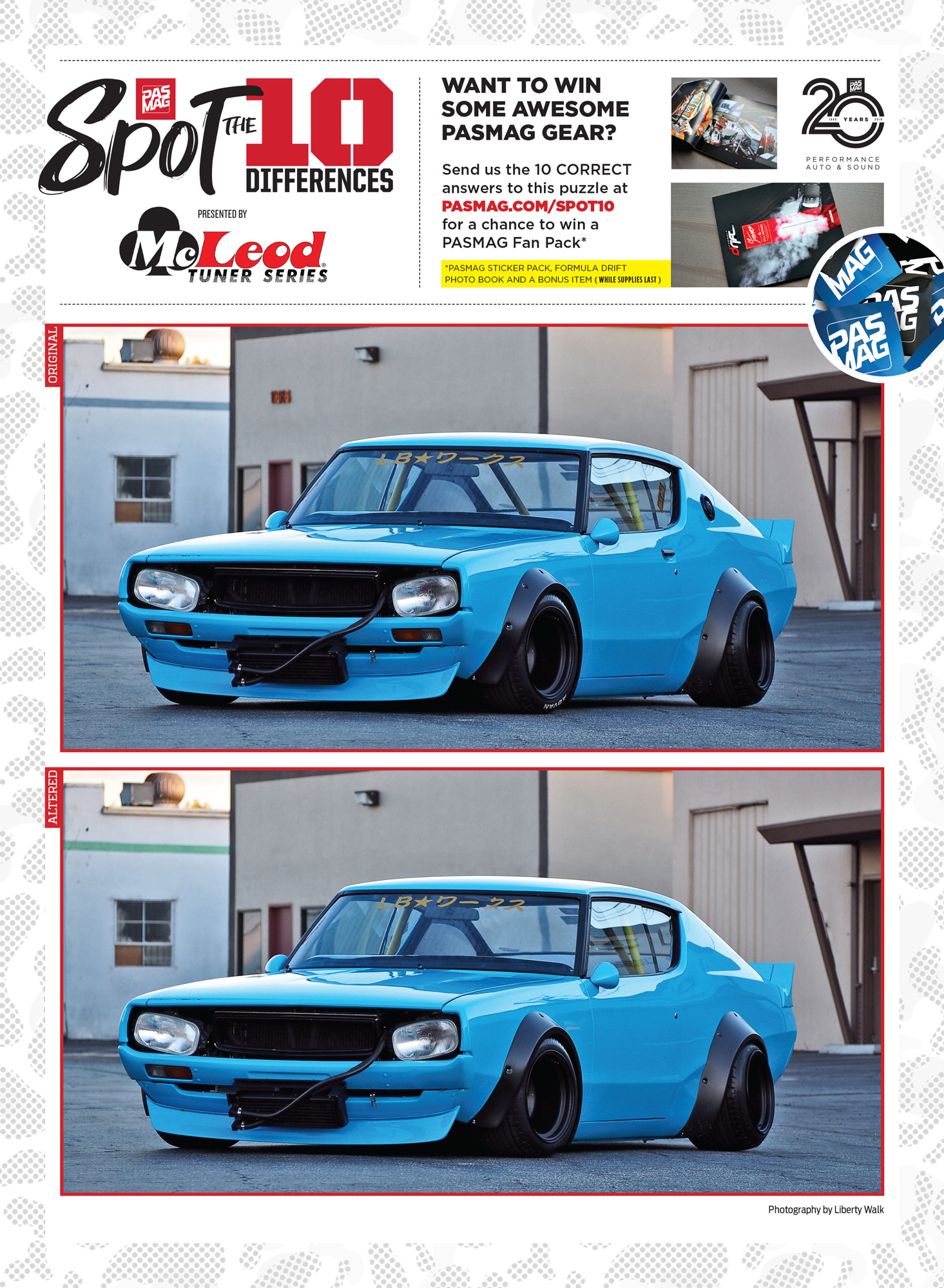 PASMAG Spot the Differences Apr 22 2020 Wataru Kato Nissan Skyline Kenmeri Liberty Walk
